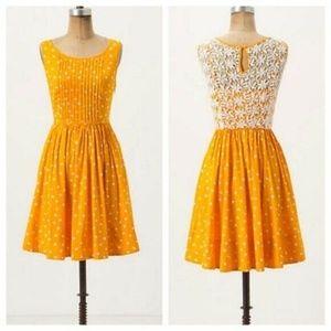 NWT Anthro Moulinette Soeurs Gold Polka Dot Dress